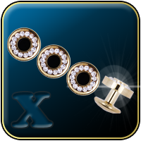 Gold & Rhinestone Dress Shirt Studs Set (Four Studs)