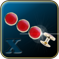 Gold & Red Tuxedo Shirt Studs (Four Studs)